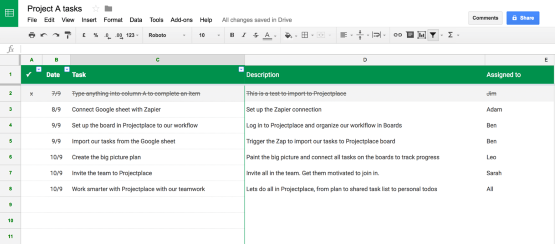 How the Google Sheets integration works