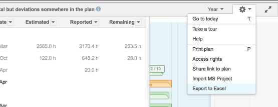 Exportez vos fichiers Projectplace dans Excel