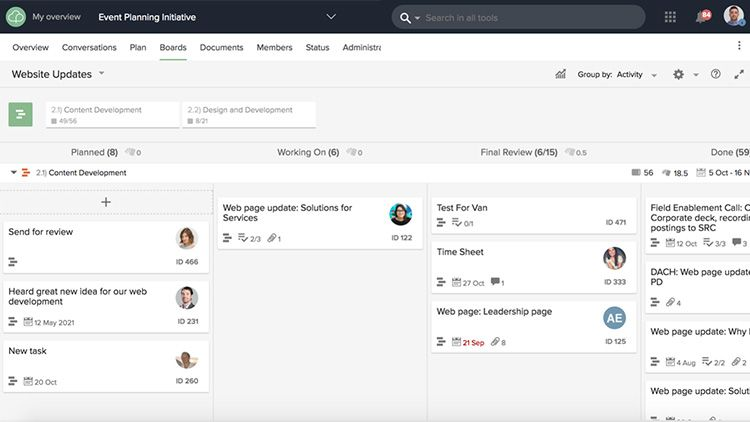 Kanban boards in your project collaboration tool allow you to see and prioritize work.
