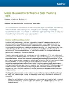 Gartner: 2019 Magic Quadrant for Enterprise Agile Planning Tools
