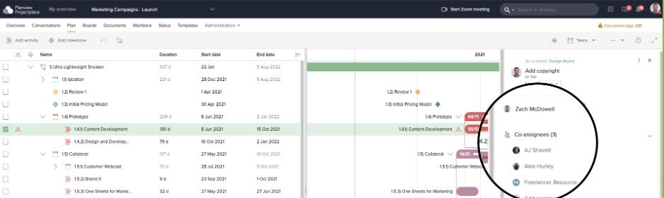 A Gantt chart enables you to assign tasks to relevant teams or individuals that coincide with the project's planned start and end times.