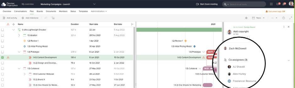 Med ett Gantt-diagram kan du tilldela uppgifter som sammanfaller med projektets planerade start- och sluttider till relevanta team eller personer.