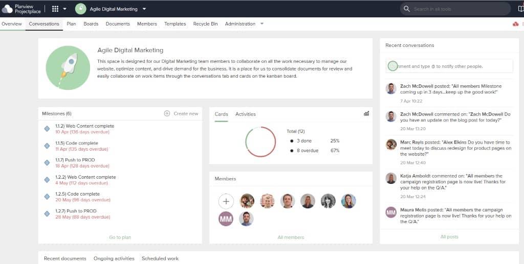 Digitale Workspaces reichen Schlüsselelemente des Projektmanagements – wie Ziele, Ressourcen und Zeitpläne – an das gesamte Team und alle Stakeholder weiter.