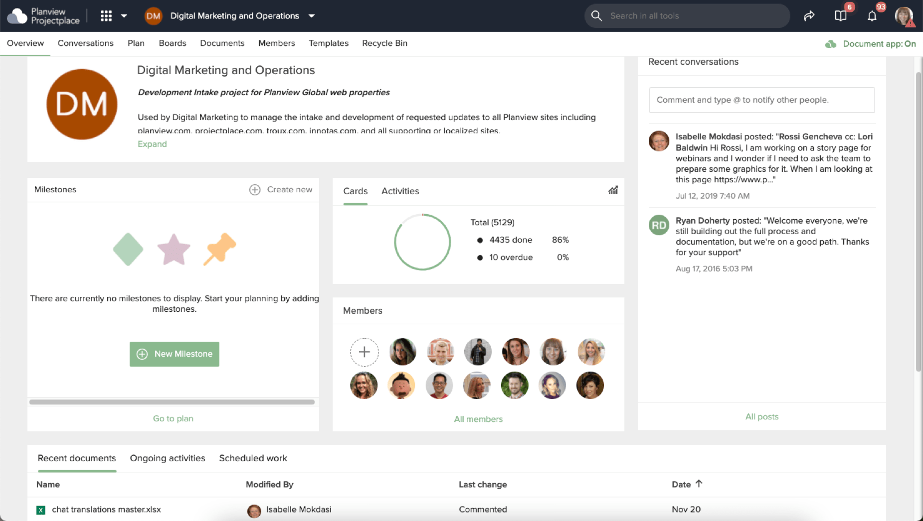 Planview Projectplace dashboard