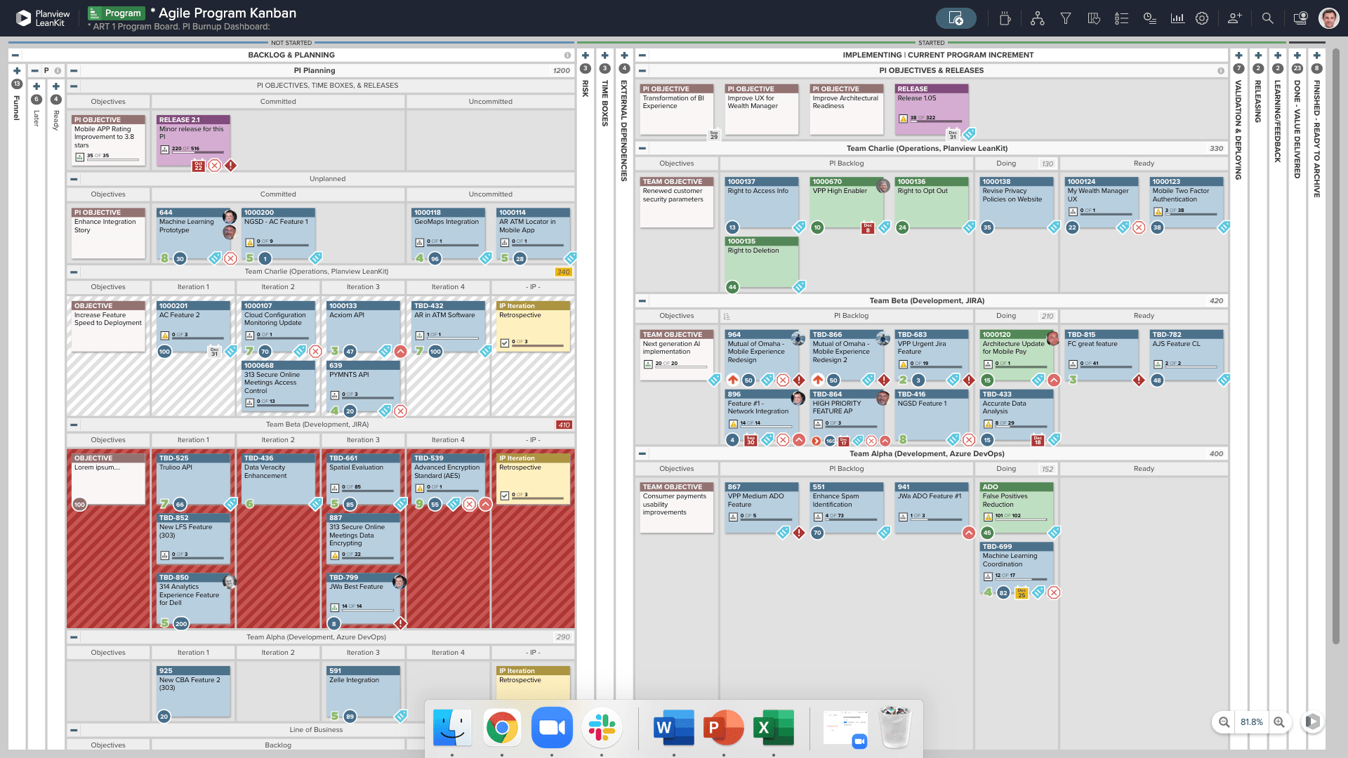 Agile Program Kanban display screen
