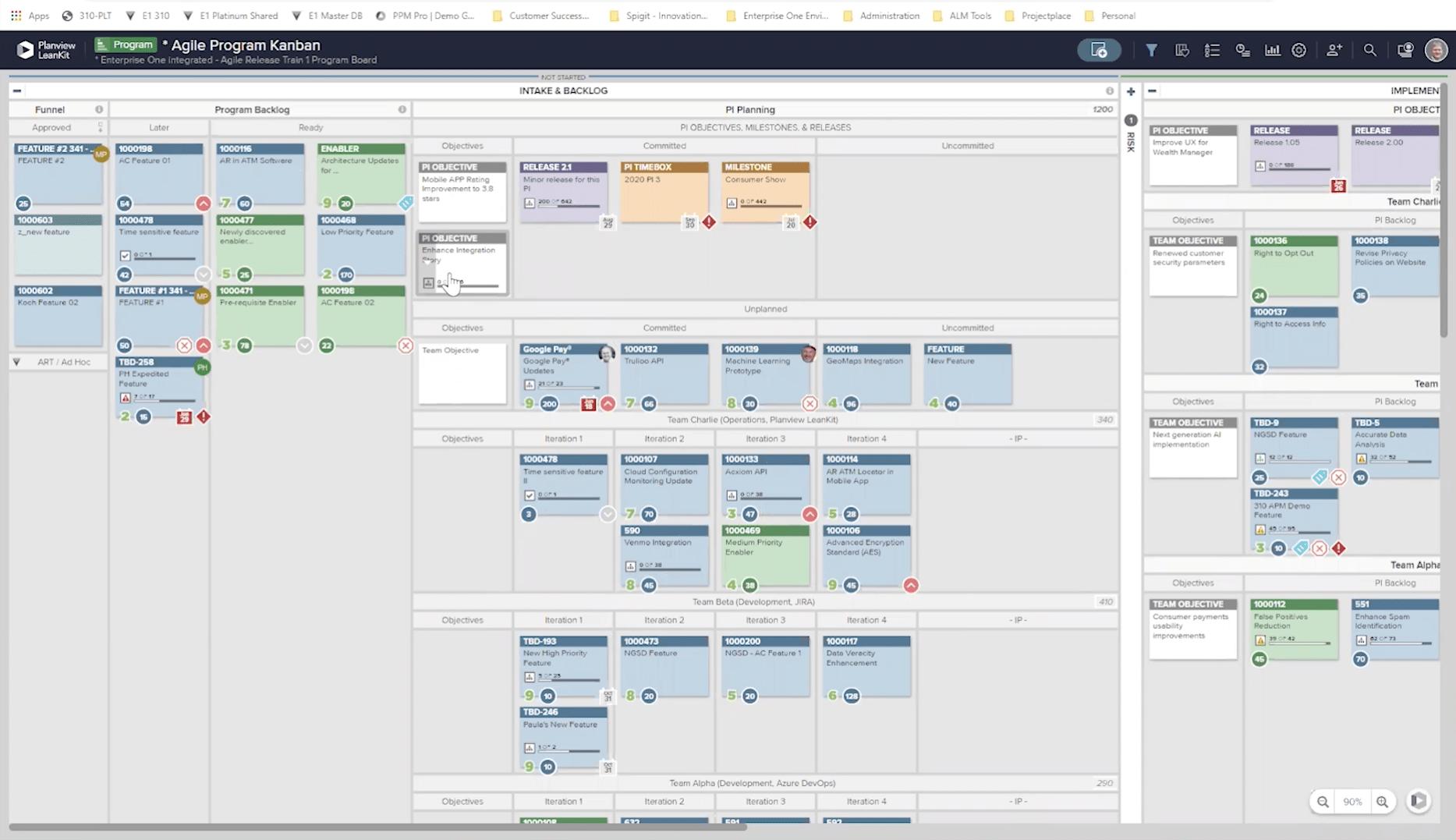 Bildschirm Agile Portfolio-Kanban für Agile-Frameworks