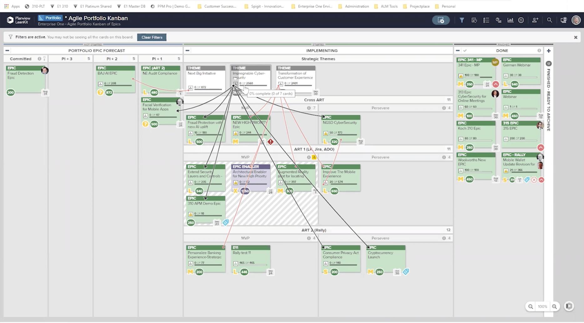 Bildschirm Agile Portfolio-Kanban
