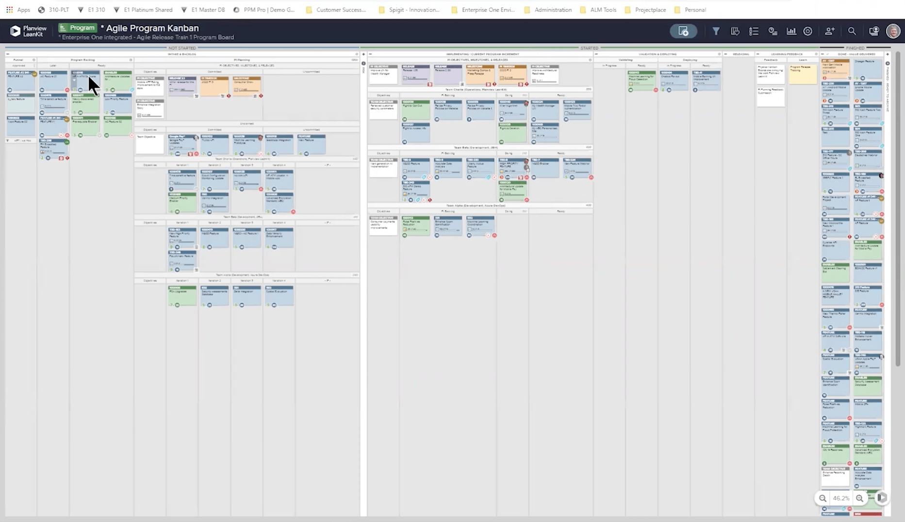 Bildschirm Agile Programm-Kanban zur Darstellung des Workflows