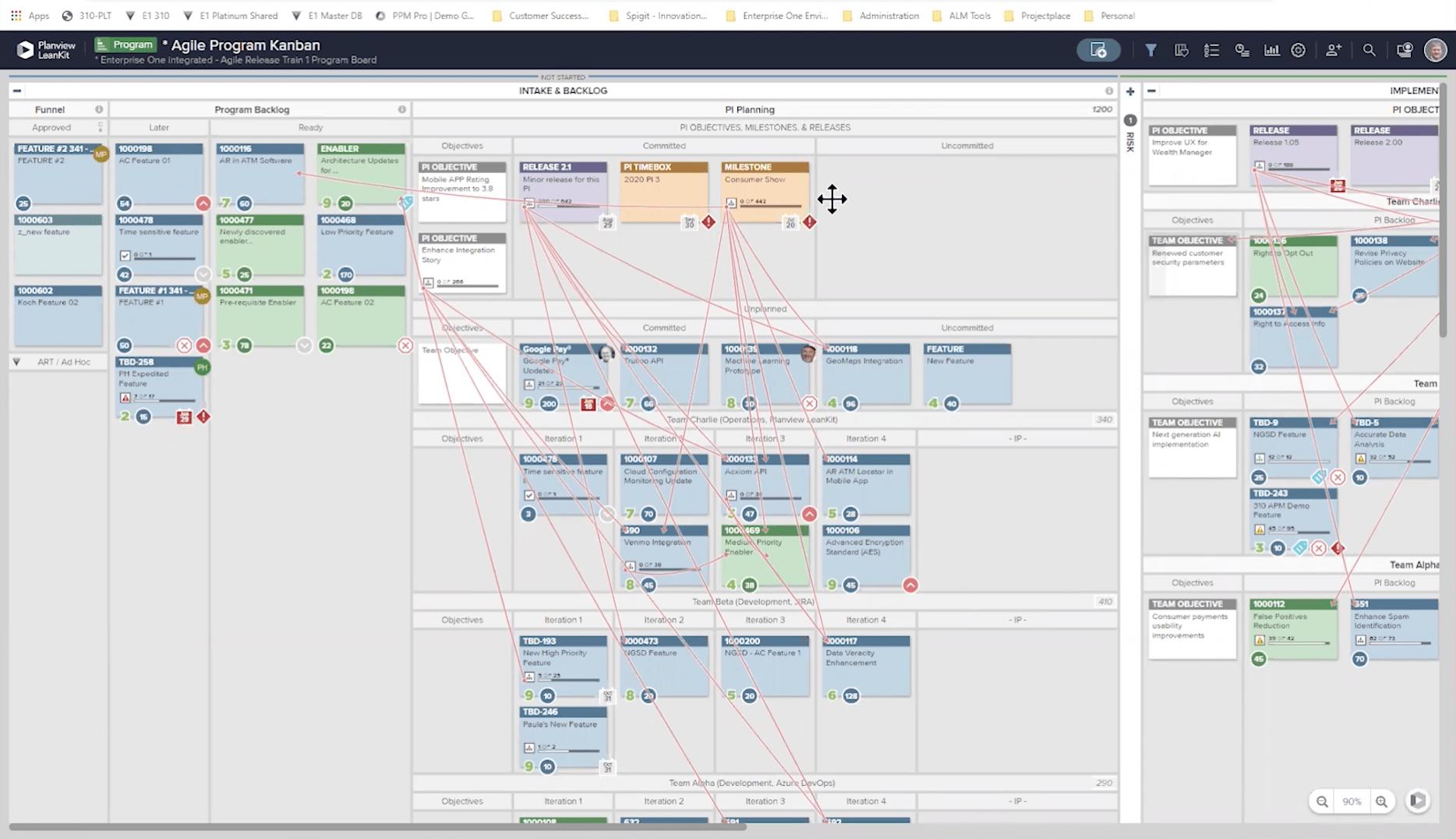 Bildschirm Planview Agile Programm-Managementlösung